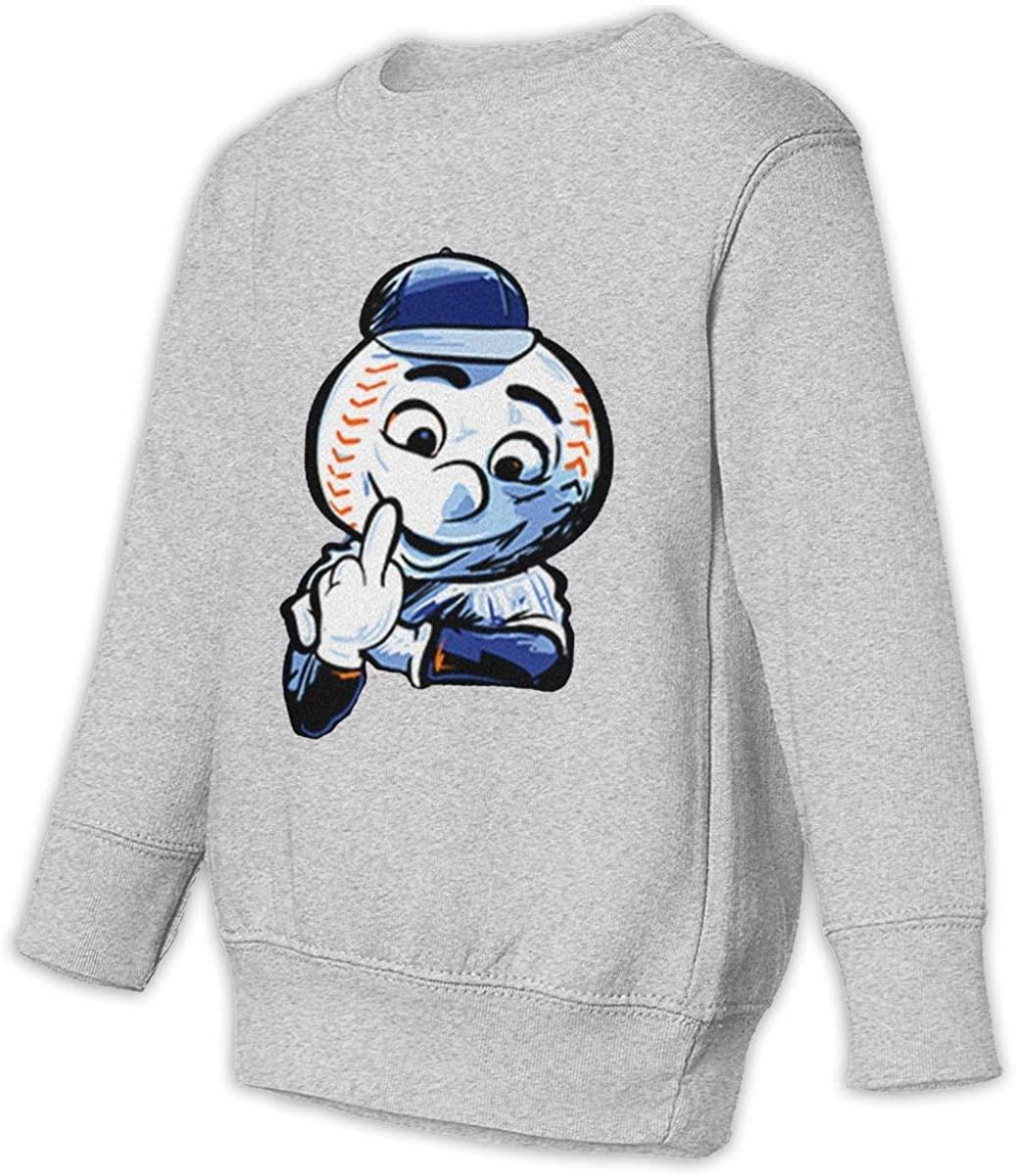 1836 New York Baseball Fans Mr. Met Unisex Sweatshirt Youth Boy and Girls Pullover Sweatshirt 3t Gray