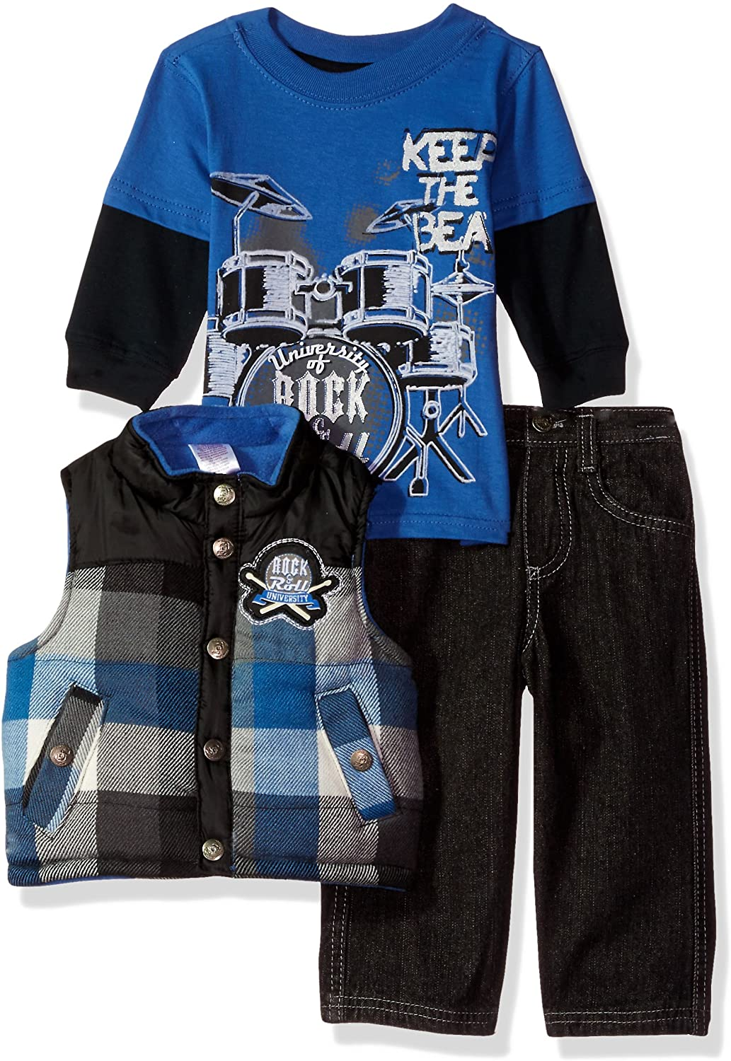 Little Rebels Baby Boys 3 Piece Keep The Beat Vest And Pant Set