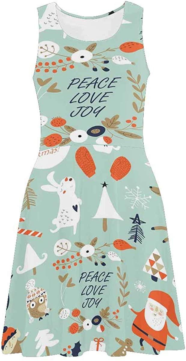 INTERESTPRINT Women's Casual Tank Dresses Cute Penguin and Snowflake Sleeveless Flared Sundresses