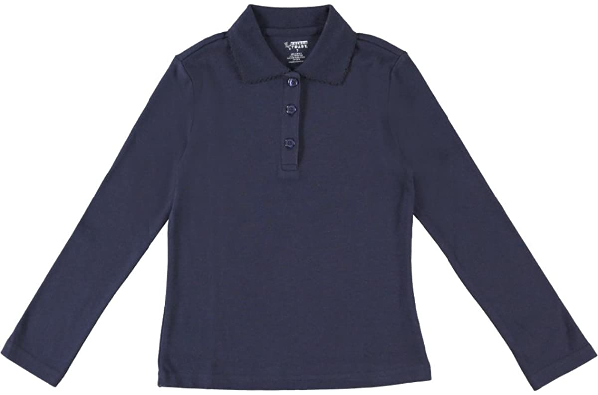 French Toast Big Girls L/S Fitted Knit Polo with Picot Collar - Navy, 8