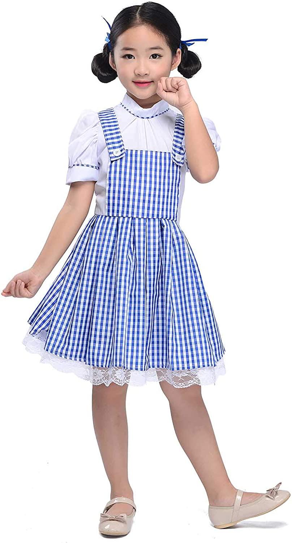 Kid Blue Gingham Dresses Girl Plaid Strappy Skirts Dance Fluffy Tutu Halloween Cosplay Princess Dress Fairy Tale (Blue, L)