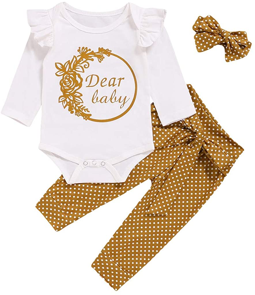 fesfesfes Baby Girl Outfit with Headband, Toddler Infant Newborn Cute Long Sleeve Tops with Trousers Clothes Underwear(0-24M)