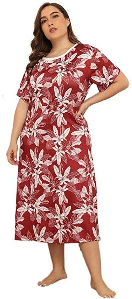 DIASHINY Women's Print Flowers Plus Size Short Sleeves Nightgown Sleepwear Long Shirt Lungewear