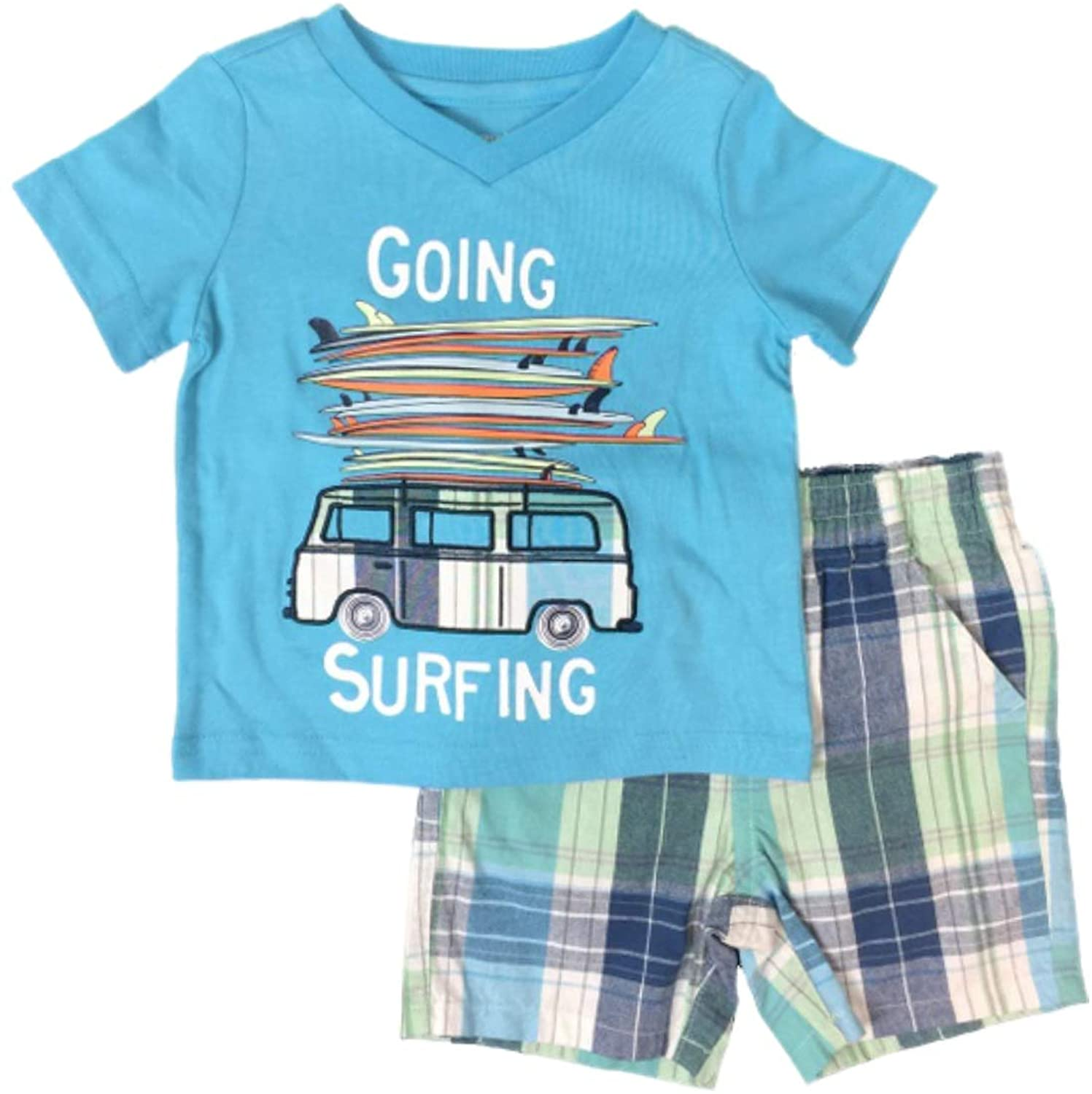 Infant & Toddler Boys Going Surfing Outfit Surf Board Shirt & Plaid Shorts