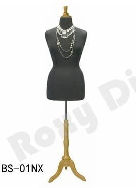 (JF-F14/16BK+BS-01NX) Size 14-16 Black Female Dress Form Mannequin Plus Size 42 32 44 with Wooden Base & Cap