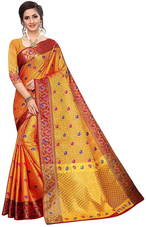 Silk Zone Women's Banarasi Kora Muslin Silk Saree with Blouse Piece(Kora_1) Yellow