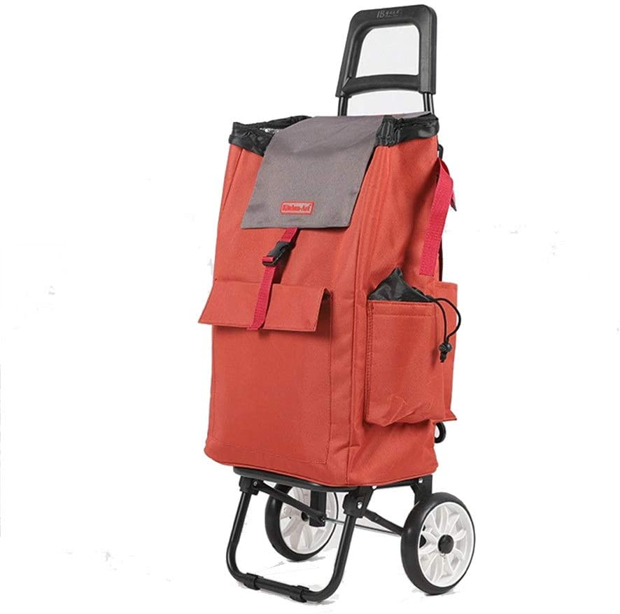 Monkibag Shopping Grocery Cart Folding Solid Color Shopping Trolley Waterproof Oxford Cloth Printed Shopping Trolley on 2 Wheels with Detachable Bag (Color : Orange, Size : Free Size)