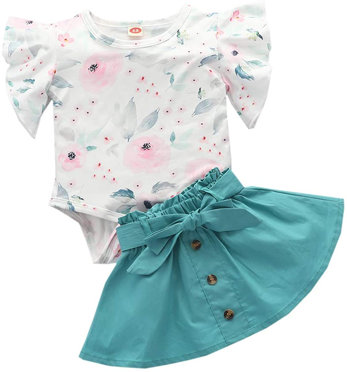 Toddler Baby Girl Skirt Sets Ruffled Romper Bodysuit+Belted Button Skirt Summer Outfit Clothes