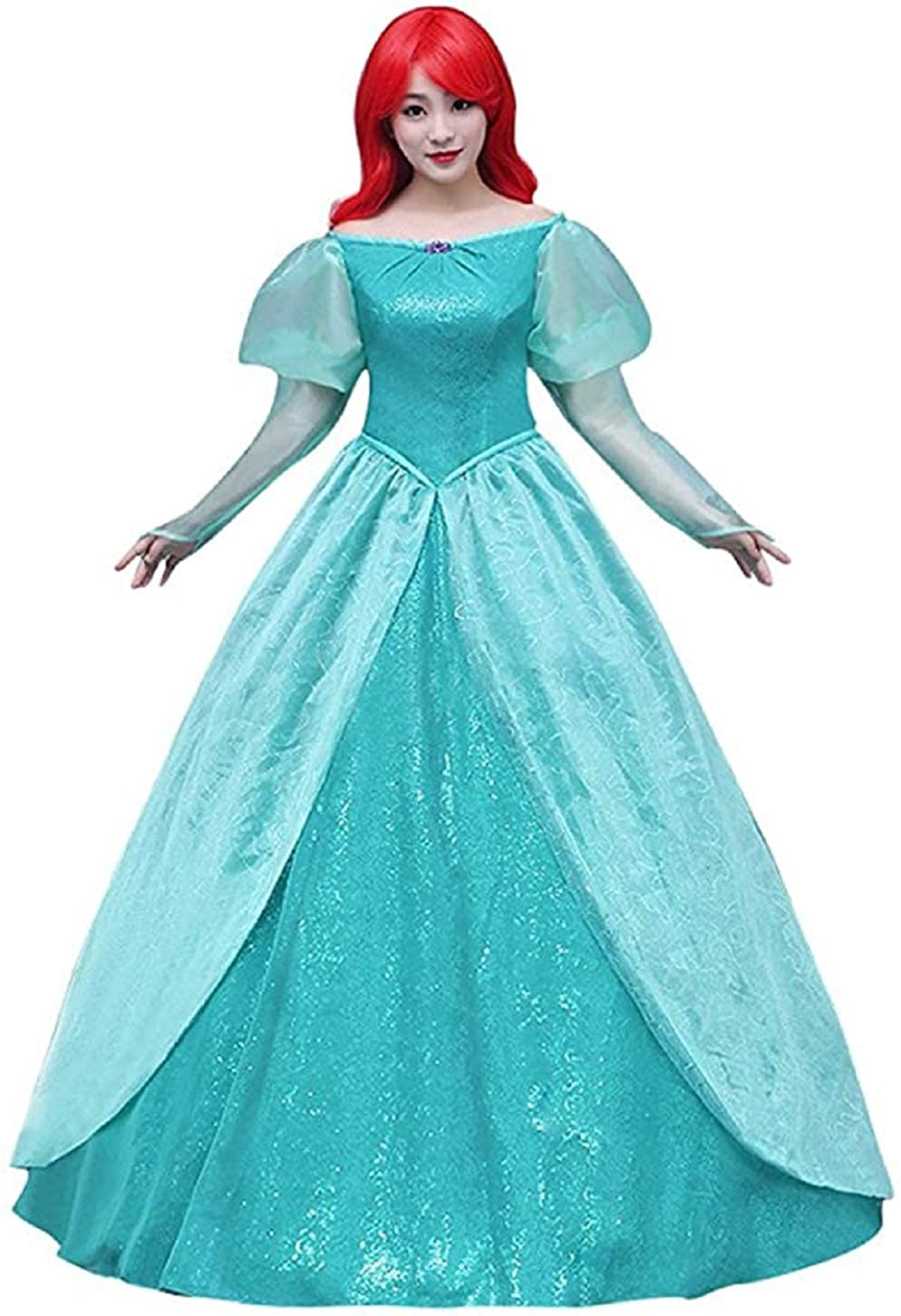 Xfang Womens Deluxe Princess Dress Cosplay Costume Green Satin Party Cloth