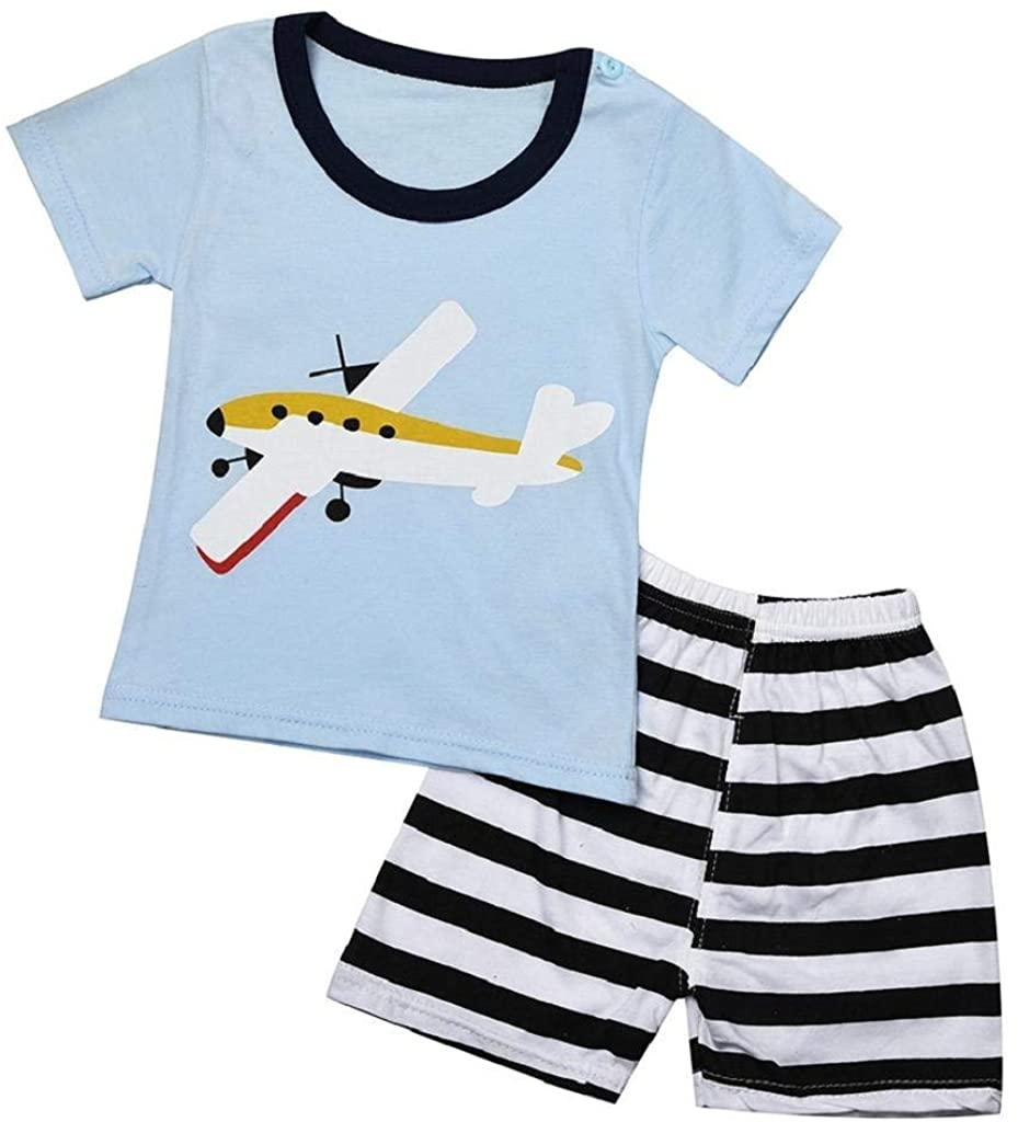 terbklf Newborn Infant Baby Boys Girls Cute Cartoon Airplane Short Sleeve Tops Shirt+Elegant Stripe Pants Outfits Set