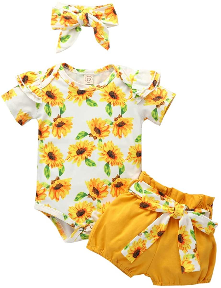 Newborn Baby Girl Ruffle Romper Sunflower Bodysuit + Shorts + Headband Outfit Set