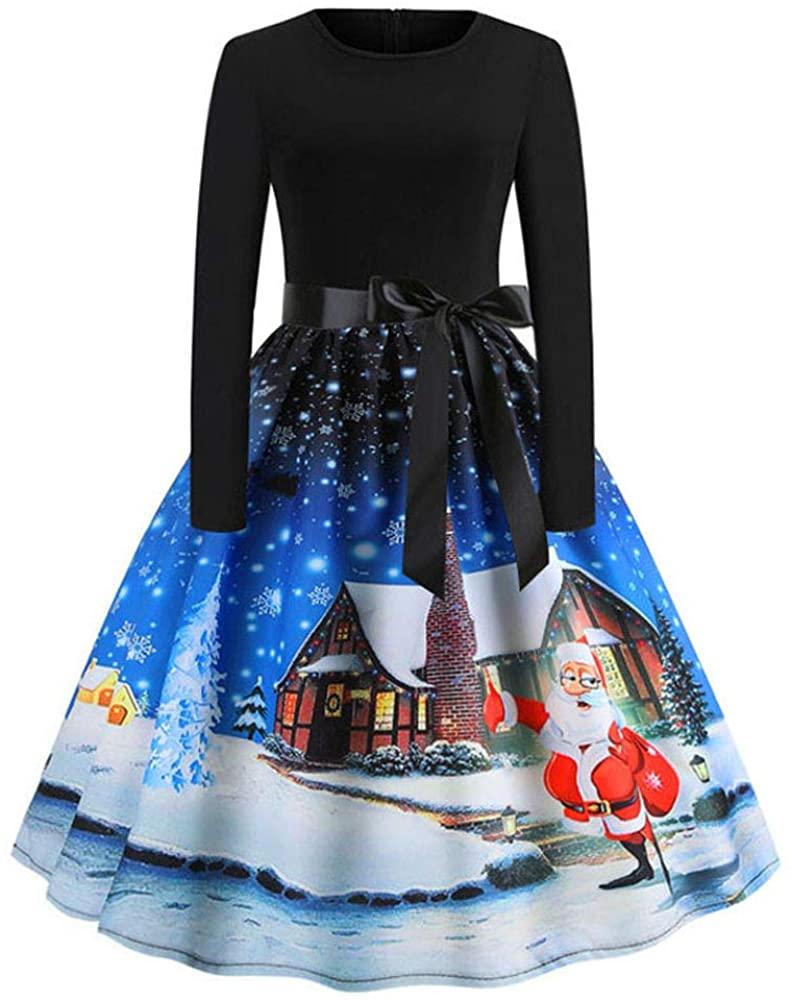 ZEFOTIM Christmas Vintage Dress,Women Elegant Long Sleeve Print Dresses O Neck Xmas Evening Cocktail Party A-line Swing Dress