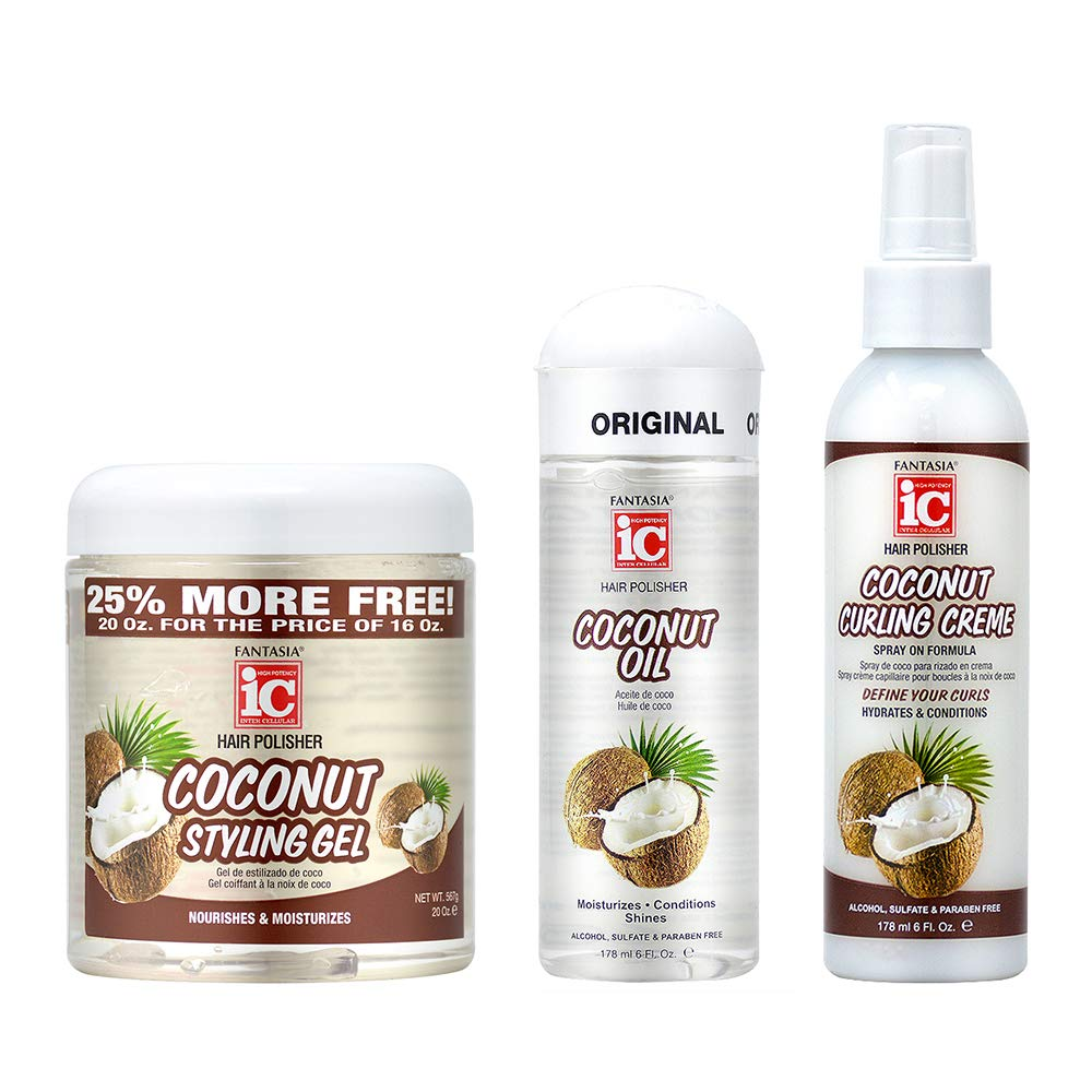 Fantasia Hair Polisher Coconut Oil Serum 6oz+ Styling Gel 16oz + Curling Crème Spray 6oz
