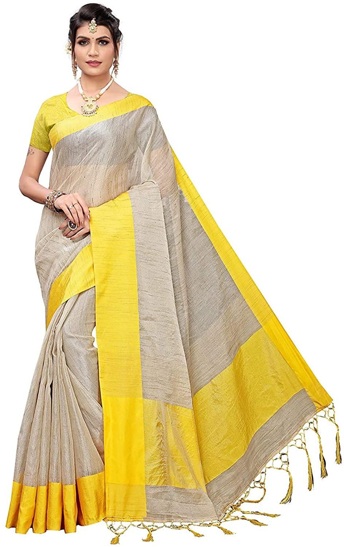 Indian Decor & Attire Art Silk with Blouse Piece Saree (Leela-Yellow Free Size)