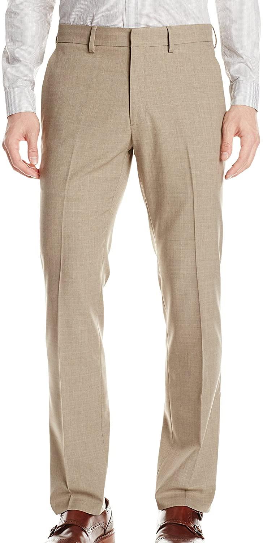 Kenneth Cole Reaction Men's Stria Check Flat Front Rigid Waist Dress Pant