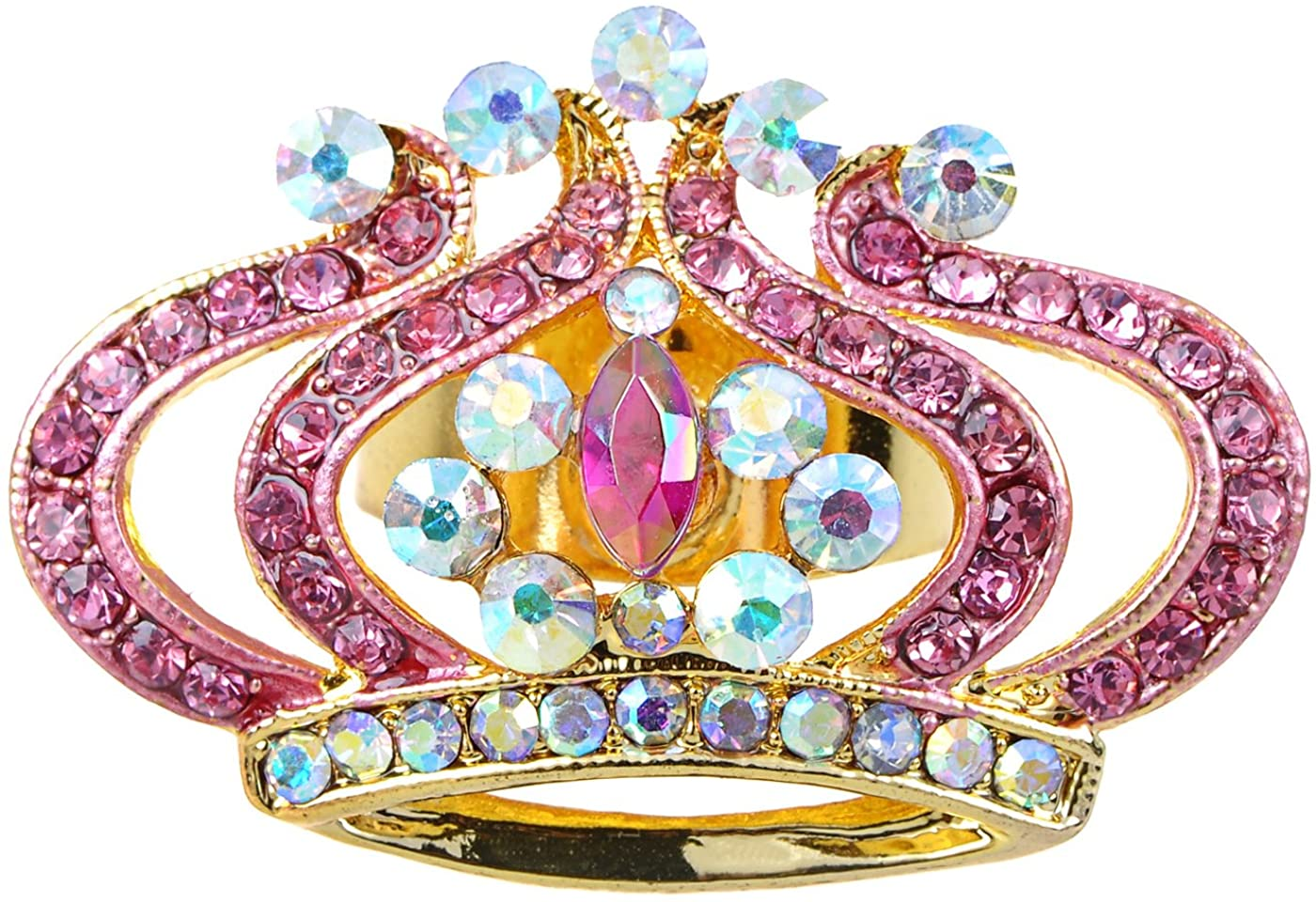 Alilang Women Gold Princess Pink Rose Lady Faux Crystal Rhinestone Crown King Adjustable Ring