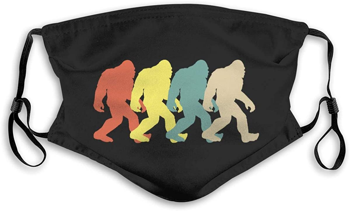 Bigfoot Silhouette Retro Pop Art masks Face Protection Decoration with 2 Filter Chip