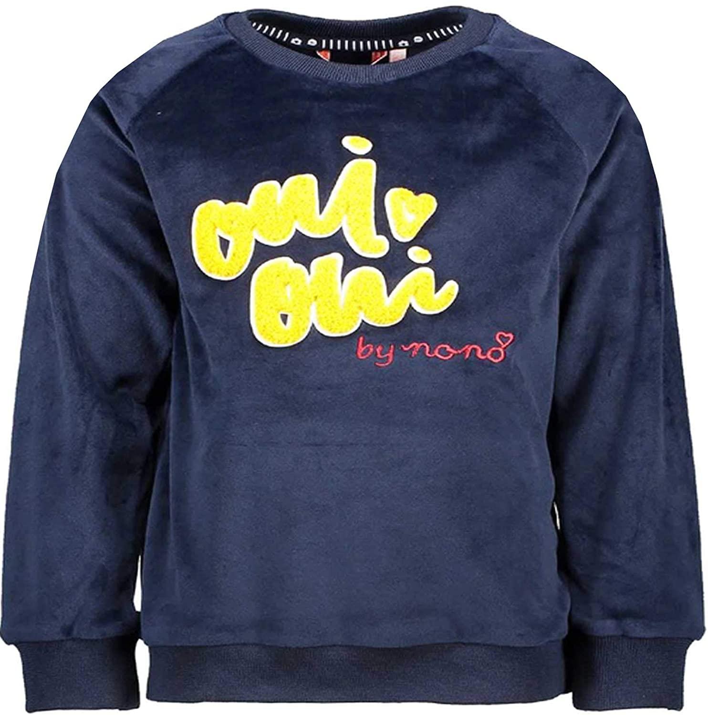 NONO Girls Velour Sweatshirt in Navy 3D Applique, Sizes 4-14