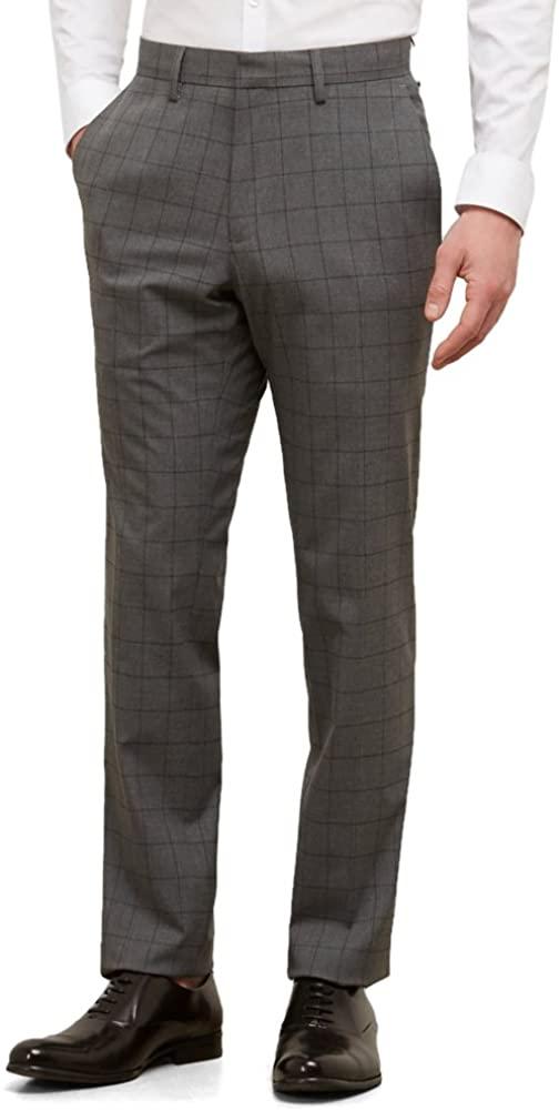 Kenneth Cole REACTION Men's Tonal Windowpane Slim Fit Flat Front Dress Pant