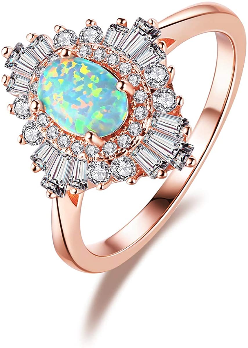 LAZLUVU Rose Gold Plated Opal Rings for Women Cubic Zirconia Ring Mother's Day Anniversary Jewelry Gift for Ladies Size 5-10