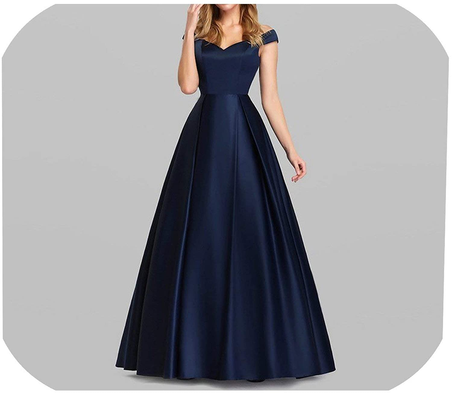 HOT-House Navy Blue Elegant Women Long Prom Dresses V Neck Off The Shoulder Vintage Formal Party Dresses