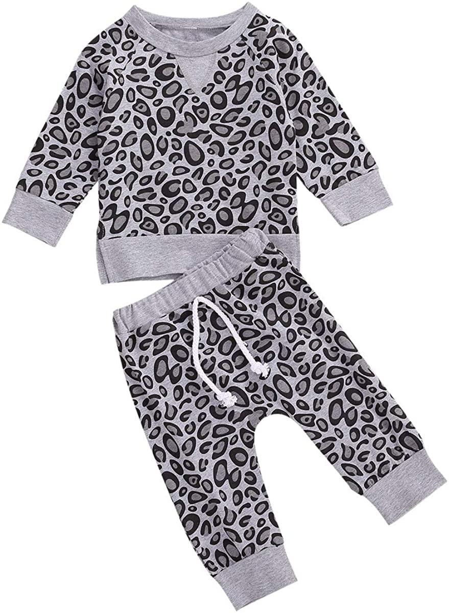 Newborn Baby Boy Girl Leopard Outfit Long Sleeve T-Shirt Top Drawstring Pants 2pcs Fall Winter Clothes Set
