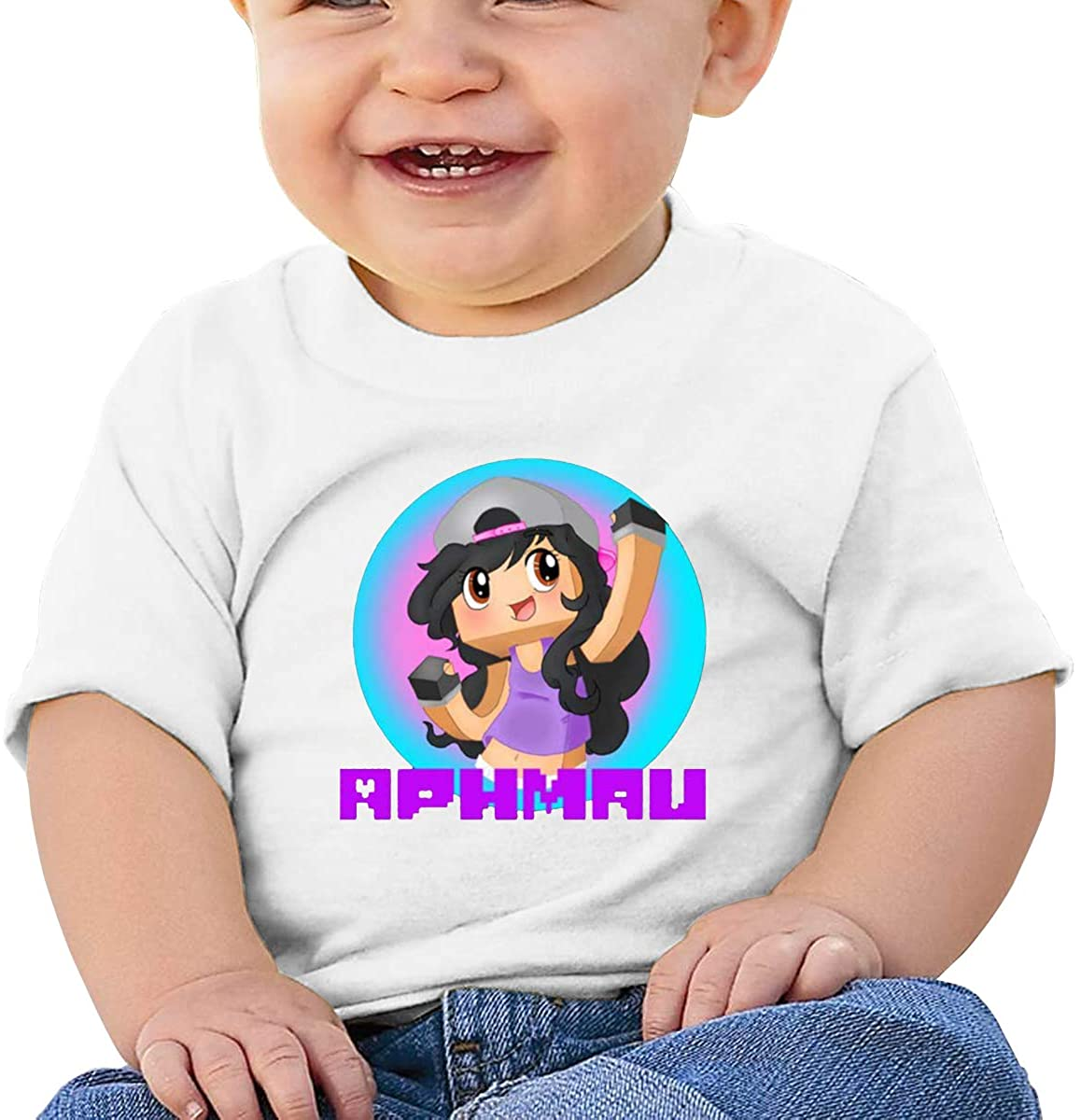 6-24 Months Boy and Girl Baby Short Sleeve T-Shirt Aphmau Logo Elegant and Simple Design White