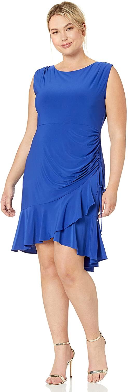 Gabby Skye Women's Plus Size Sleeveless Round Neck Ity Rouched A-line Dress