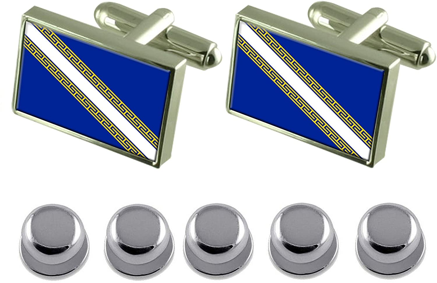 Select Gifts Shirt Dress Studs Champagne-Ardenne Province France Flag Cufflinks
