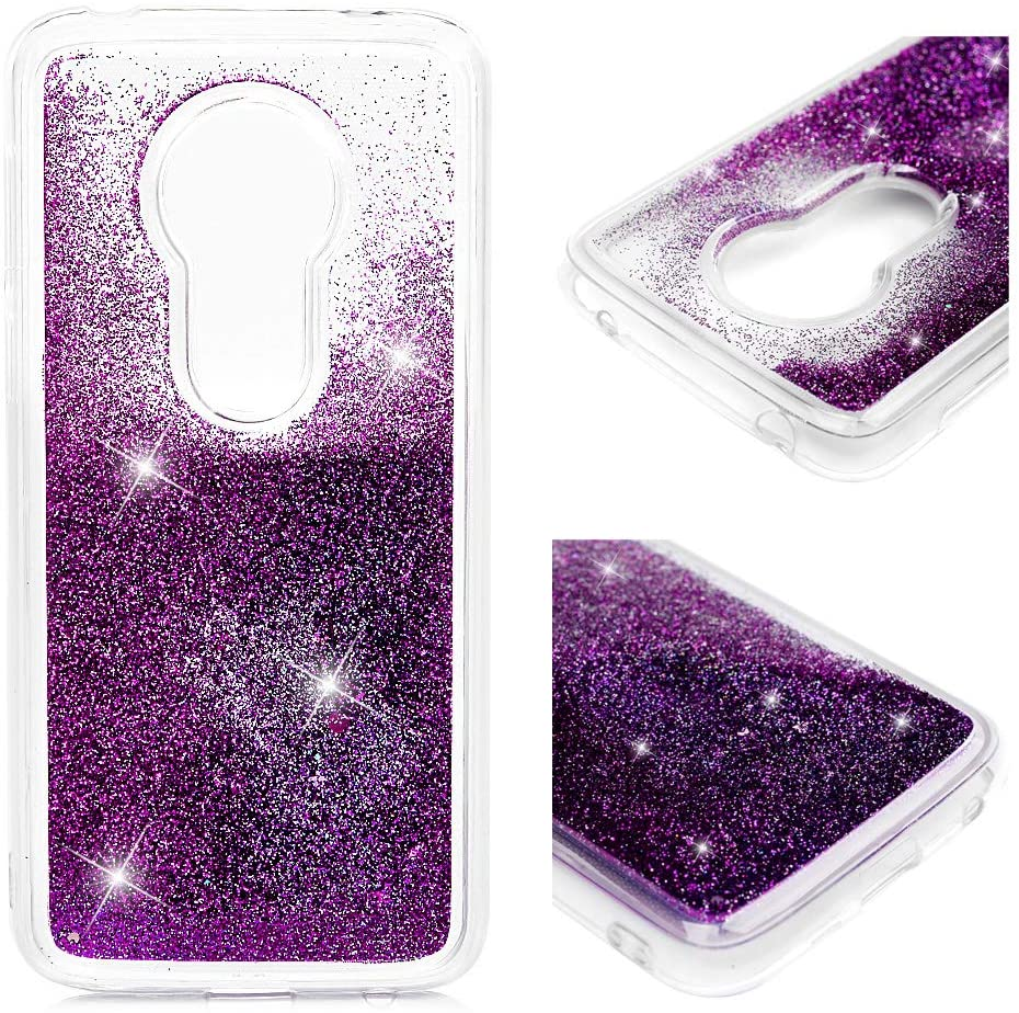 MOTO G7 Play Case Clear Glitter Liquid Cover Quicksand Case Bling Shiny Sparkle Moving Flowing Sequins Shockproof Drop Resistant Flexible Soft TPU Bumper Protector for Motorola MOTO G7 Play Purple