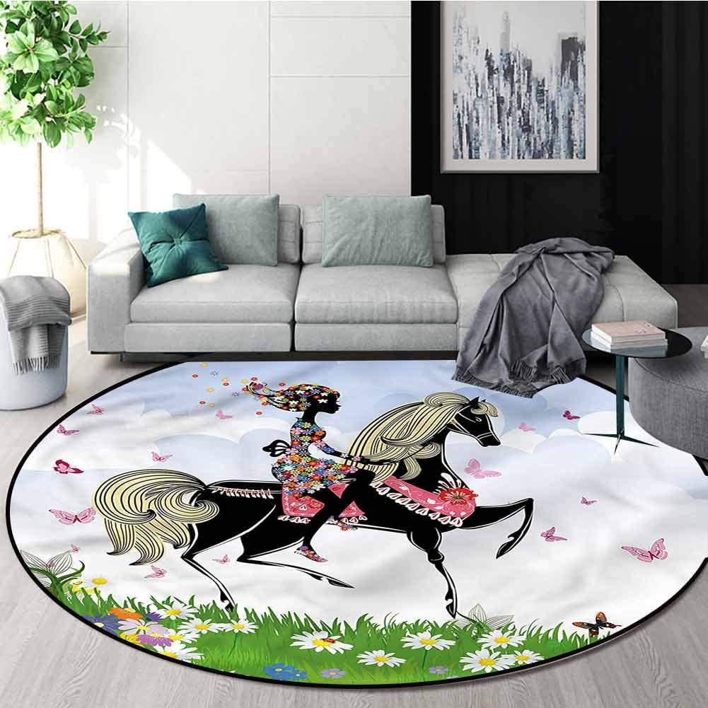 RUGSMAT Horse Non-Slip Area Rug Pad Round,Girl Riding Pony in Spring Carpet Door Pad for Bedroom/Living Room/Balcony/Kitchen Mat Round-71