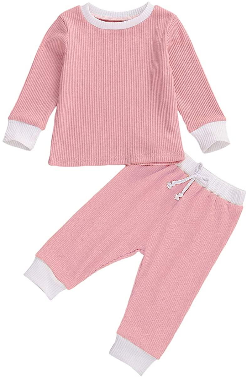 Marksmile Infant Baby Autumn Knit 2Pcs Outfits Unisex Toddler Round-Neck Long Sleeve Bodysuit Cotton Elastic Long Pants