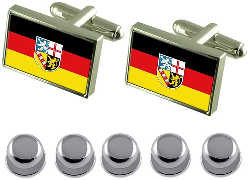 Select Gifts Shirt Dress Studs Saarland State and Civil Flag Cufflinks