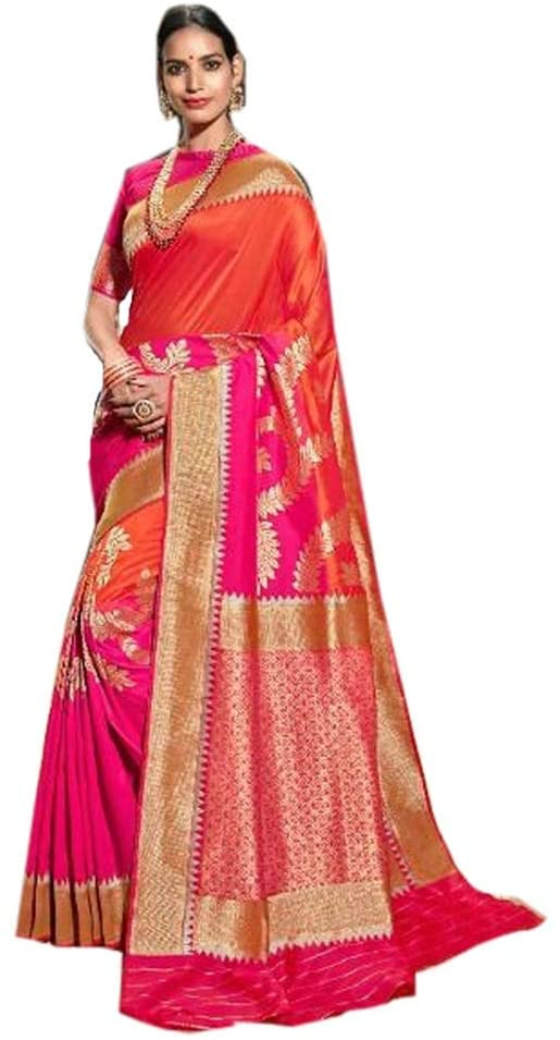 Orange Pink Indian Banarasi Silk Saree for Girls Heavy Zari Pallu Weaving Women Sari Muslim Blouse Saree Wearing 9891