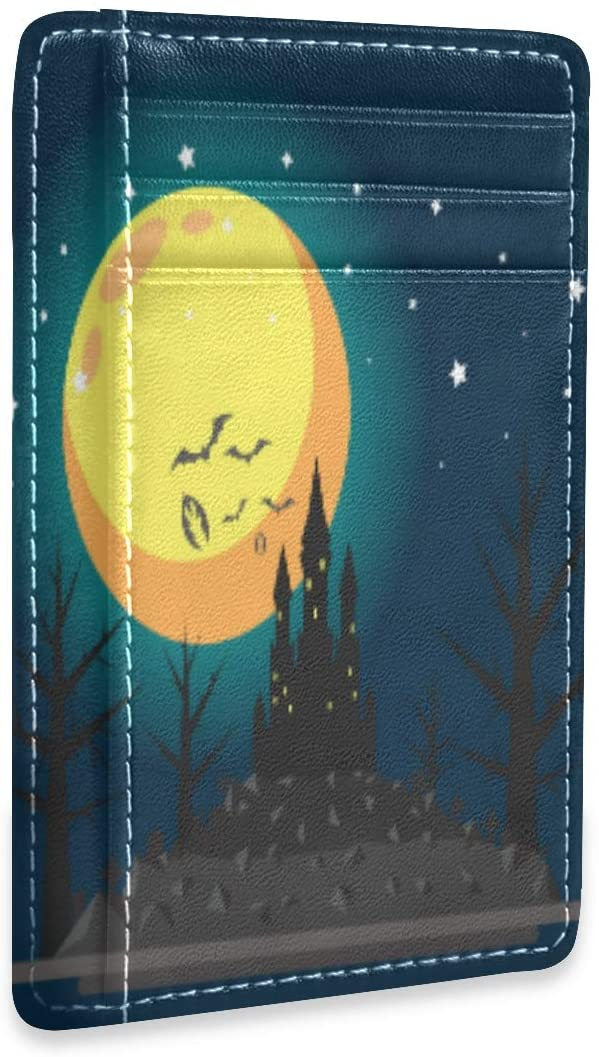 Happy Halloween Haunted Castle Bat Slim RFID Credit Card Holder Case Leather Cardholder Wallet Men Women