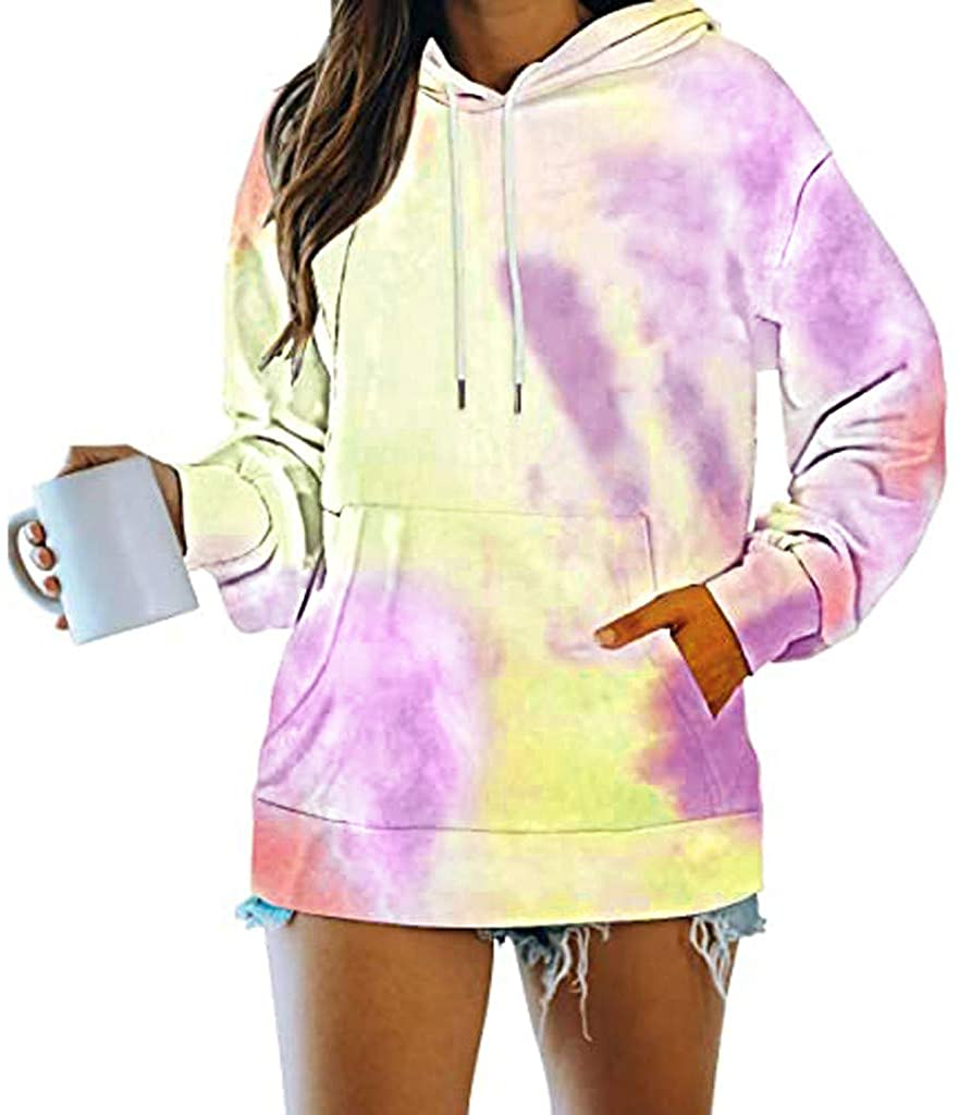 Soluo Button Down shirtsWomen Plus Size Tie Dye Printed Gradient Pullover Long Sleeve Sweatshirt Tops