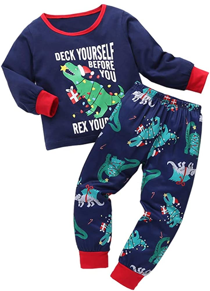 Christmas Outfits Kids Toddler Baby Boy Girls Letter Cartoon Dinosaur Print Long Sleeve Top Pants Fall Clothing Sets