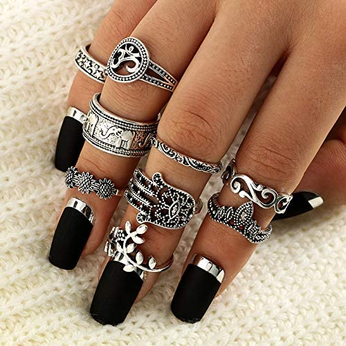 Clairy Boho Silver Stackable Rings Flower Knuckle Elephant Rings Set Head Rings Jewelry for Women and Girls 9PCS