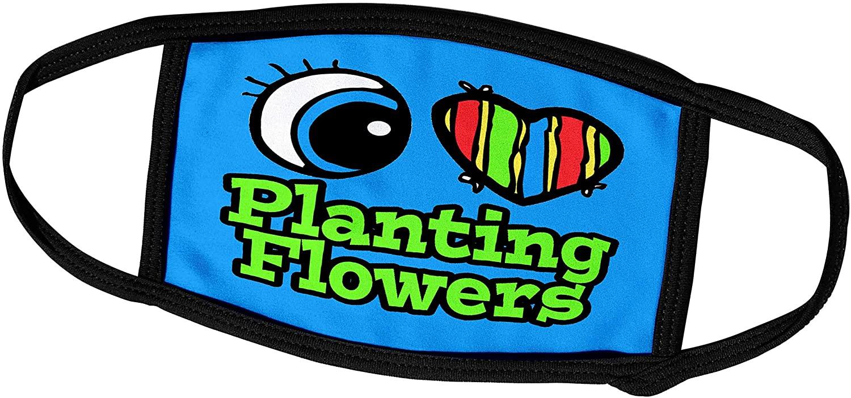 3dRose Dooni Designs Eye Heart I Love Designs - Bright Eye Heart I Love Planting Flowers - Face Masks (fm_106394_2)