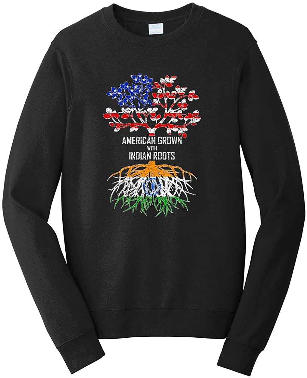 Tenacitee Unisex American Grown with Indian Roots Sweatshirt