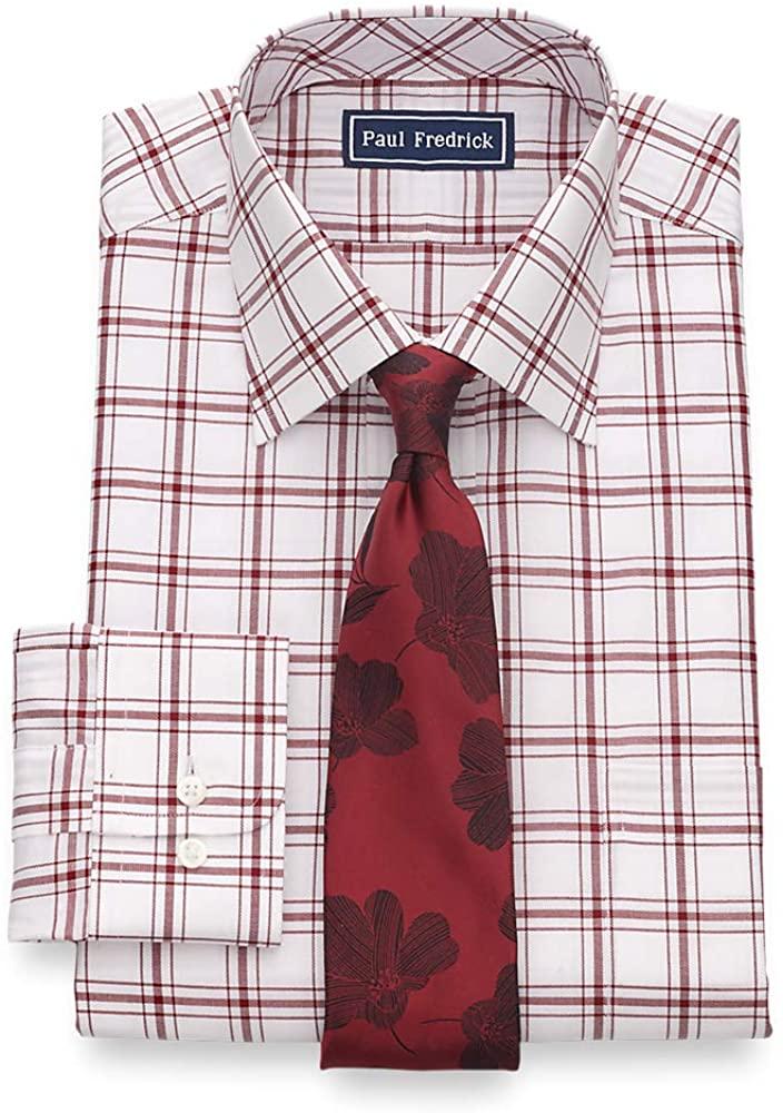 Paul Fredrick Men's Classic Fit Pure Cotton Windowpane Dress Shirt