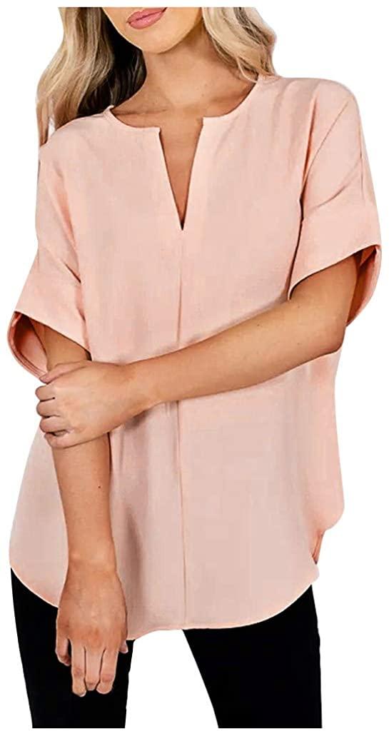 NREALY Chaleco Womens Fashion V-Neck Pure Color Short Sleeve Tunics Shirts Loose Blouses Tops