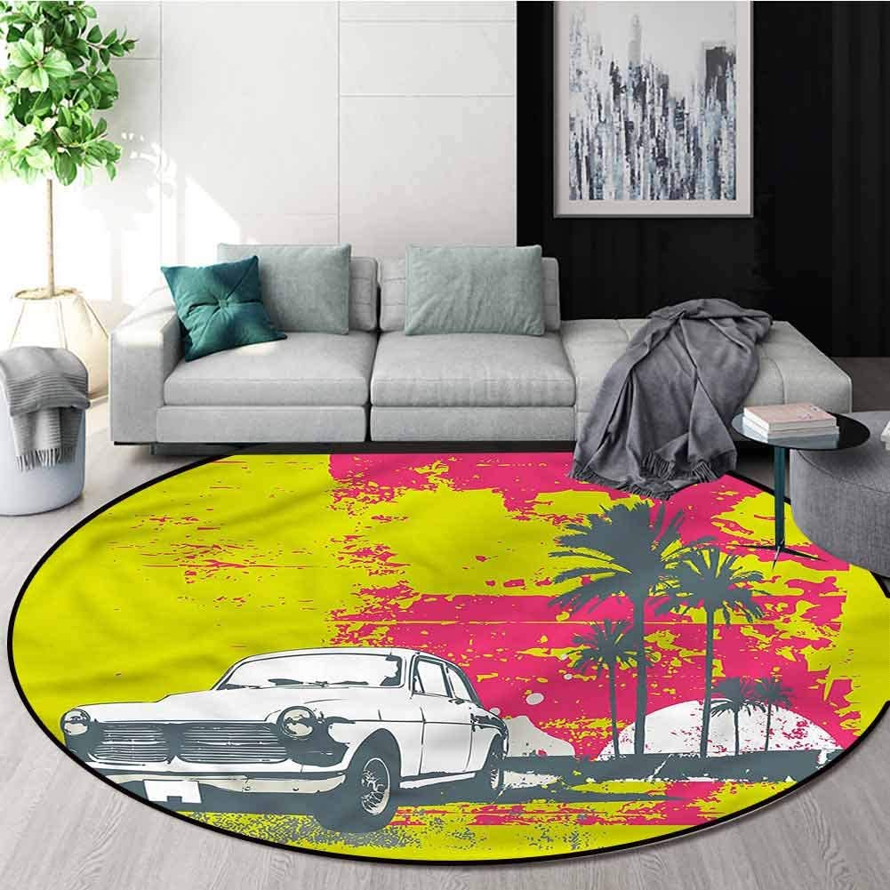 RUGSMAT Grunge Anti-Skid Area Rug,Vintage Cars with Palms Design Non-Slip Fabric Round Rugs for Living Room Diameter-47