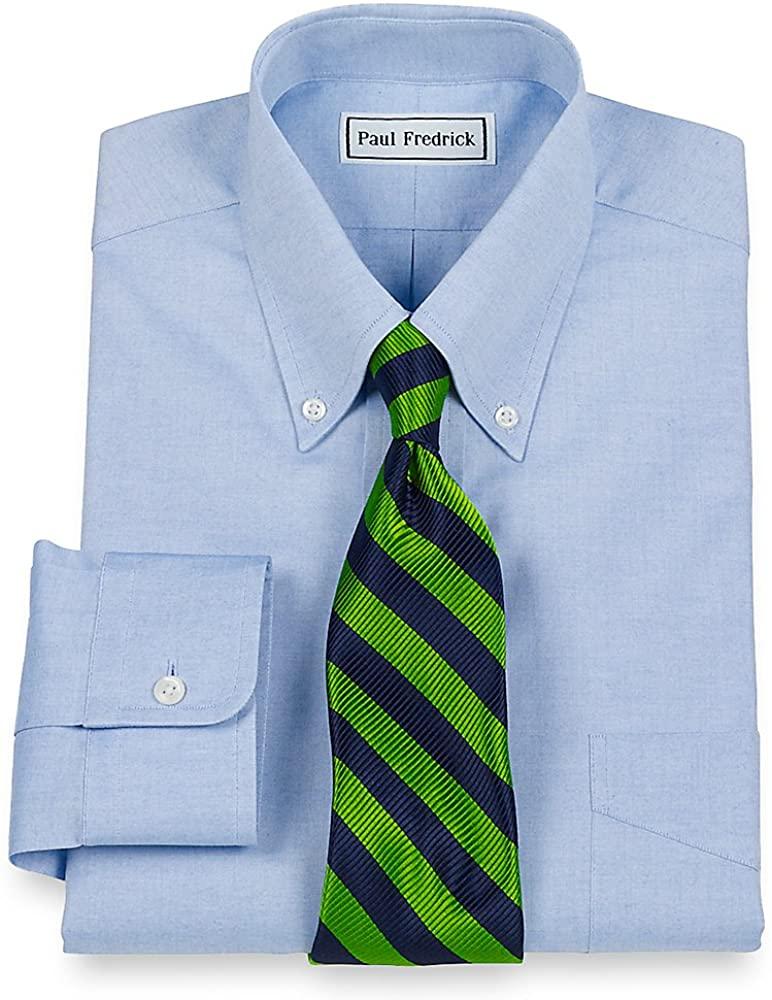 Paul Fredrick Men's Pinpoint Button Down Collar Button Cuff Dress Shirt Blue 18.5/36 110