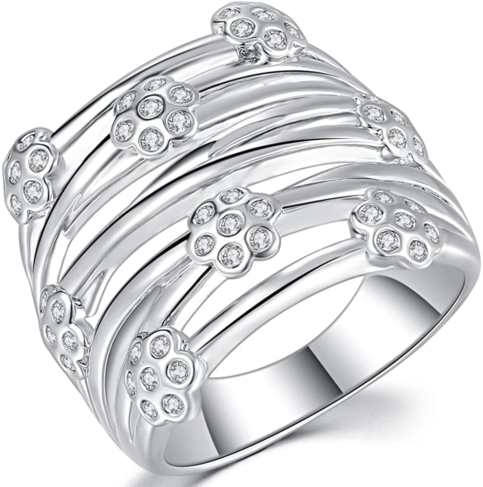 Jude Jewelers Platinum Plated Flower Style Braided Wrap Cocktail Party Statement Wedding Ring