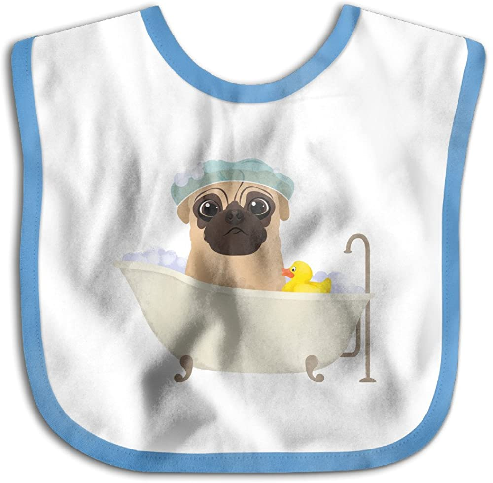 Baby The Cute Bathing Bulldog With A Duck Toy Skin-Friendly Bibs, Best Gift For Newborn