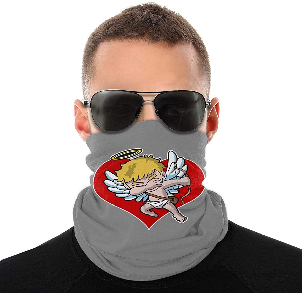 Dabbing Cupid Valentines Day Heart Novelty Neck Gaiter Unisex Adult Windproof Mask Dust Sports Face Mask Half Balaclava Weather Bandana Women Men Outdoors Festivals
