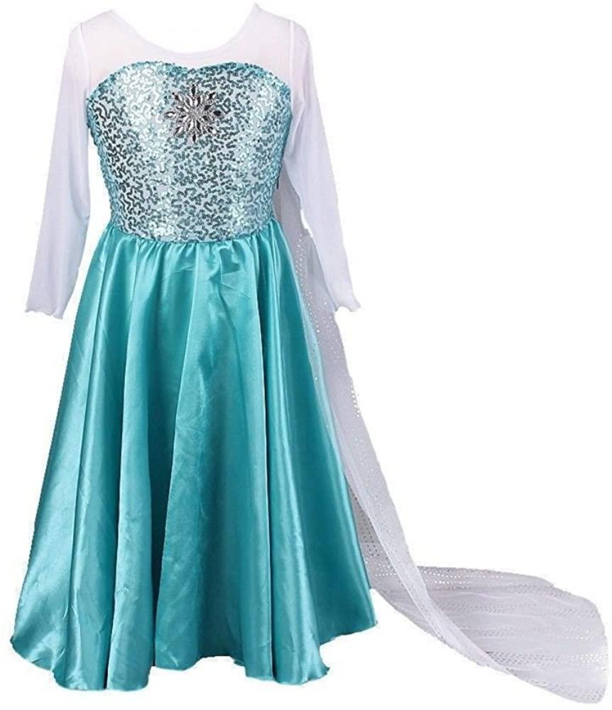 Buy Home Girls Snow Queen Costume Snow Princess Elsa Cosplay Dress (3T(110cm))