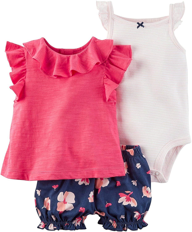 Carter's Baby Girls' 3 Piece Bodysuit & Diaper Cover Set