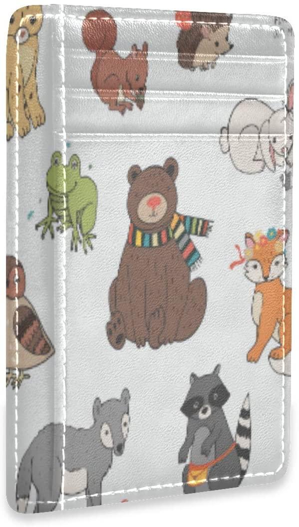 RFID Credit Card Holder Bear Fox Hedgehog Frog Owl Rabbit Leather Cardholder Wallet Slim Womens Mens